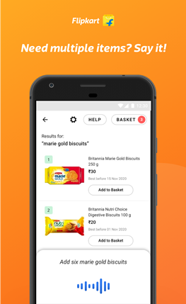 Flipkart introduces Hindi and EnglishVoice Assistant on its grocery store, Supermart